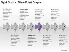 Eight Distinct View Point Diagram Chart Vision Flowcharts PowerPoint Templates