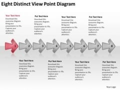 Eight Distinct View Point Diagram Process Flow Chart PowerPoint Slides