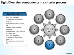 Eight Diverging Components A Circular Process Business Pie Chart PowerPoint Slides