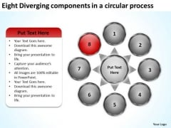 Eight Diverging Components A Circular Process Circular PowerPoint Templates