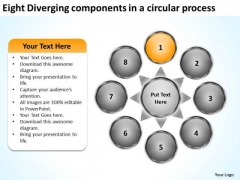 Eight Diverging Components A Circular Process Cycle Layout Network PowerPoint Slides