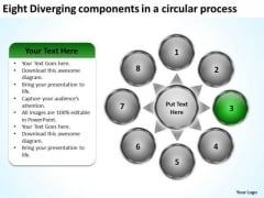 Eight Diverging Components A Circular Process Cycle Motion Diagram PowerPoint Slides