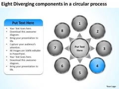 Eight Diverging Components A Circular Process Pie Chart PowerPoint Slides