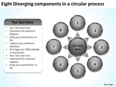 Eight Diverging Components A Circular Process PowerPoint Slides