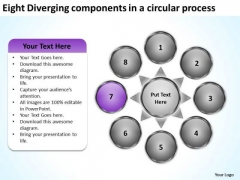 Eight Diverging Components A Circular Process PowerPoint Templates