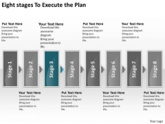 Eight Stages To Execute The Plan Chart Freeware Flowchart PowerPoint Templates