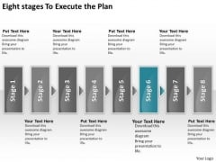 Eight Stages To Execute The Plan Chart Sales Process Flow Chart PowerPoint Slides