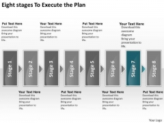 Eight Stages To Execute The Plan Freeware Flowchart PowerPoint Slides