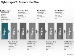 Eight Stages To Execute The Plan Freeware Flowchart PowerPoint Templates