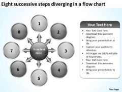 Eight Successive Steps Diverging A Flow Chart Cycle Motion Network PowerPoint Slides