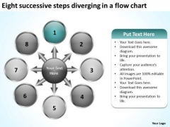 Eight Successive Steps Diverging A Flow Chart Pie Diagram PowerPoint Slides