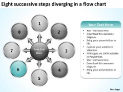 Eight Successive Steps Diverging A Flow Chart Pie Network PowerPoint Slides