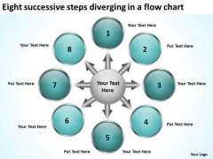 Eight Successive Steps Diverging A Flow Chart Processs And PowerPoint Templates
