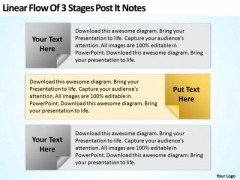 Examples Of Business Processes Linear Flow 3 Stages Post It Notes Ppt 2 PowerPoint Templates
