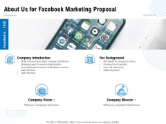 Facebook Ad Management About Us For Facebook Marketing Proposal Ppt File Aids PDF
