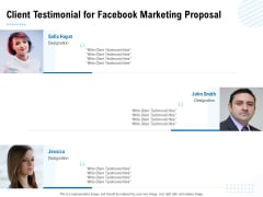 Facebook Ad Management Client Testimonial For Facebook Marketing Proposal Ppt Pictures Mockup PDF