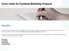 Facebook Ad Management Cover Letter For Facebook Marketing Proposal Ppt Show PDF