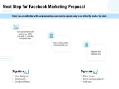 Facebook Ad Management Next Step For Facebook Marketing Proposal Ppt Ideas Design Templates PDF