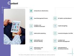 Facility Management Content Ppt Model Slideshow PDF