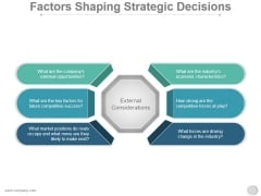 Factors Shaping Strategic Decisions Ppt PowerPoint Presentation Deck