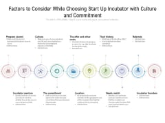 Factors To Consider While Choosing Start Up Incubator With Culture And Commitment Ppt PowerPoint Presentation Infographic PDF
