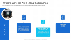 Factors To Consider While Selling The Franchise Ppt Layouts Examples PDF