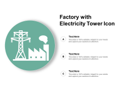 Factory With Electricity Tower Icon Ppt PowerPoint Presentation Pictures Skills