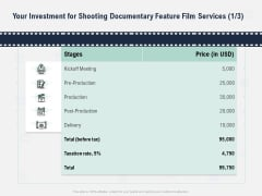 Factual Picture Filming Investment For Shooting Documentary Feature Film Services Price Download PDF