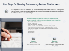 Factual Picture Filming Next Steps For Shooting Documentary Feature Film Services Themes PDF