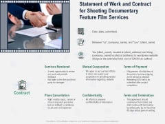 Factual Picture Filming Statement Of Work And Contract For Shooting Documentary Feature Film Services Structure PDF