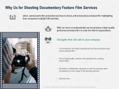 Factual Picture Filming Why Us For Shooting Documentary Feature Film Services Icons PDF