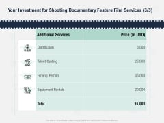 Factual Picture Filming Your Investment For Shooting Documentary Feature Film Services Filming Icons PDF