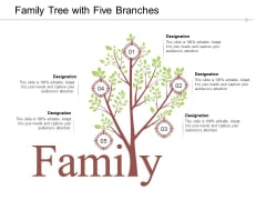 Family Tree With Five Branches Ppt PowerPoint Presentation Pictures Graphics