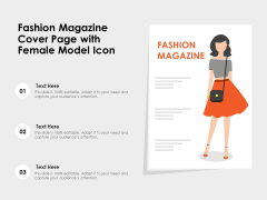 Fashion Magazine Cover Page With Female Model Icon Ppt PowerPoint Presentation File Clipart PDF