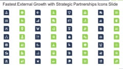 Fastest External Growth With Strategic Partnerships Icons Slide Background PDF