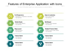 Features Of Enterprise Application With Icons Ppt PowerPoint Presentation Ideas Format Ideas