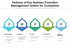 Features Of Key Business Promotion Management System For Companies Ppt PowerPoint Presentation Infographic Template Professional PDF