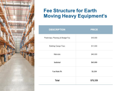 Fee Structure For Earth Moving Heavy Equipments Ppt Powerpoint Presentation Inspiration Graphic Tips