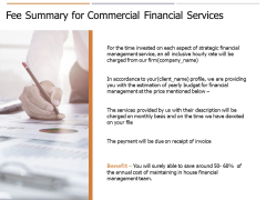 Fee Summary For Commercial Financial Services Ppt PowerPoint Presentation Gallery Graphics