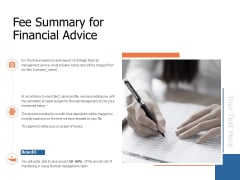 Fee Summary For Financial Advice Ppt Powerpoint Presentation Show Guide