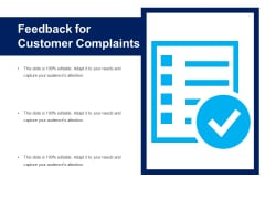 Feedback For Customer Complaints Ppt PowerPoint Presentation File Format PDF