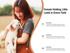 Female Holding Little Lamb In Green Field Ppt PowerPoint Presentation Gallery Influencers PDF