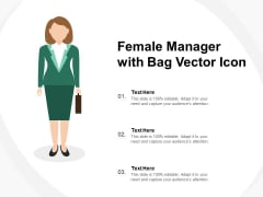 Female Manager With Bag Vector Icon Ppt PowerPoint Presentation Pictures Shapes PDF