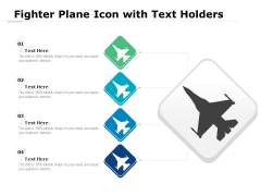 Fighter Plane Icon With Text Holders Ppt PowerPoint Presentation Icon Example File PDF