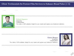 Film Branding Enrichment Client Testimonials For Feature Film Services To Enhance Brand Value Elements PDF
