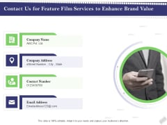 Film Branding Enrichment Contact Us For Feature Film Services To Enhance Brand Value Background PDF
