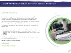 Film Branding Enrichment Cover Letter For Feature Film Services To Enhance Brand Value Demonstration PDF