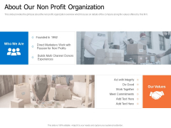 Finance Elevator Pitch About Our Non Profit Organization Ppt PowerPoint Presentation Gallery Good PDF