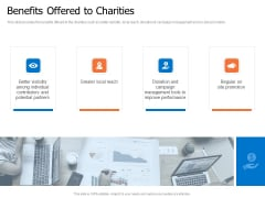 Finance Elevator Pitch Benefits Offered To Charities Ppt PowerPoint Presentation Professional Outfit PDF