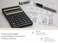 Finance Manager Calculating Income From Various Sources Ppt PowerPoint Presentation Gallery Diagrams PDF